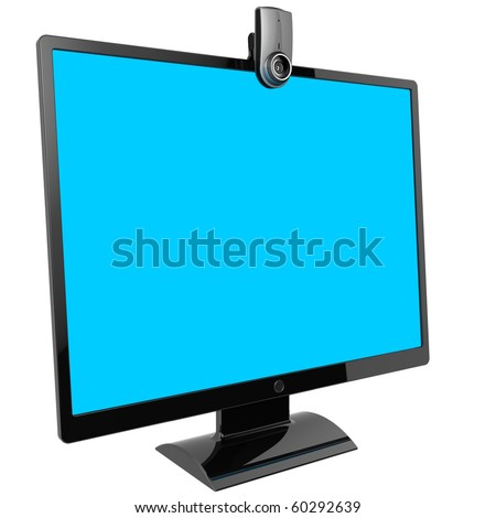 Flat black lcd computer monitor with blank cyan screen. Web camera included. 3d render (Hi-Res). Isolated on white