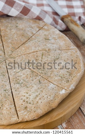 flat bread made ??from rye flour with dill