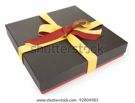 Flat cardboard gift box isolated on white, official style