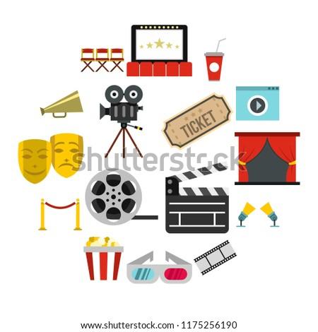 Flat cinema icons set. Universal cinema icons to use for web and mobile UI, set of basic cinema elements isolated illustration