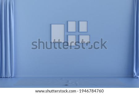Flat color interior room for poster showcase with five frames on the wall, monochrome light blue color gallery wall without furniture and empty room. 3D rendering,poster showcase Сток-фото ©