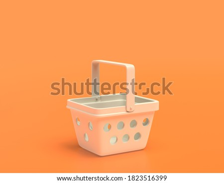 flat color shopping basket on yellow orange background, white plastic, single color, 3d rendering, shopping
