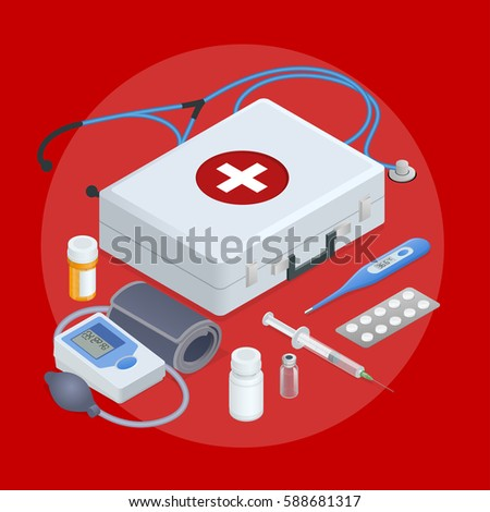 Flat concept of online medical support, family health care, health insurance, pharmacy, medical services, laboratory tests, ambulance, online pharmacy. Isometric  round pictogram composition