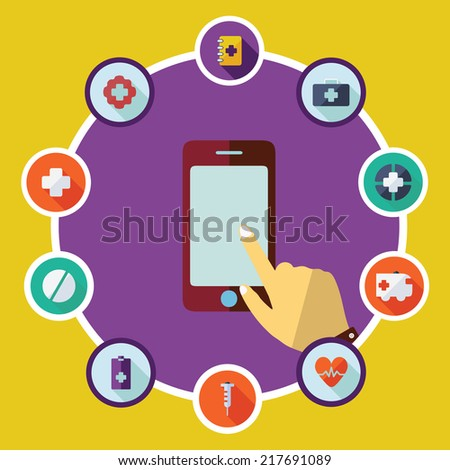 Flat concept, set modern design with shadow vector icons for web design and mobile applications, SEO. search Engine Optimization:  medicine
