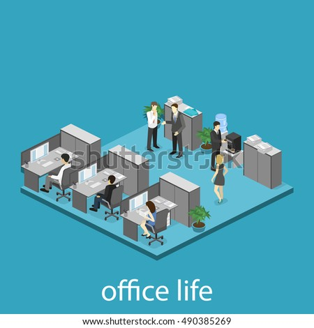 Flat 3d isometric abstract office floor interior departments concept . interior of room