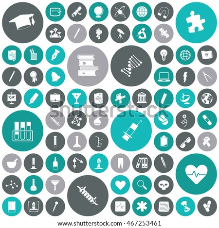 Flat design icons for education, science and medical.