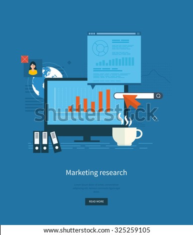 Flat design illustration concepts for business analytics and planning, consulting, teamwork, project management, market research and development. Web site analytics charts on screen of PC.