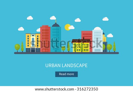 Flat design modern illustration icons set of urban landscape and city life. Building icon