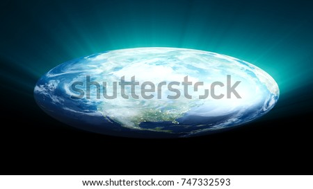 Stock Photo Flat Earth on black background. Digital illustration. 3d rendering