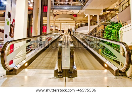 flat empty escalator in the shopping mall