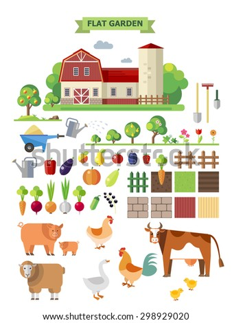 Flat farm set. Elements for game: sprites and tile sets. Vegetables, fruits and farm animals