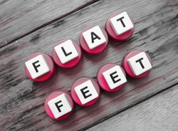 Flat Feet, word cube with background.
