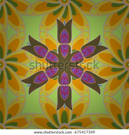 Flat flowers seamless pattern. Design gift wrapping paper, greeting cards, posters and banner design. Flowers on colorful background.