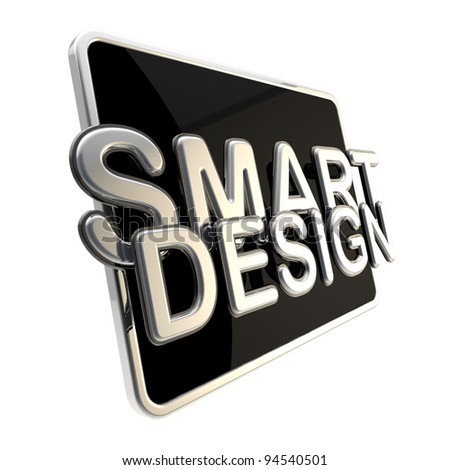 Flat glossy computer pad screen as a smart design emblem isolaed on white