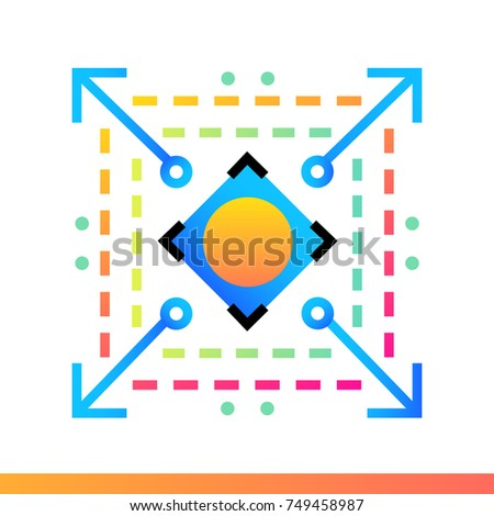 Flat icon Scalable system. Data science technology and machine learning process. Material design icon suitable for print, website and presentation