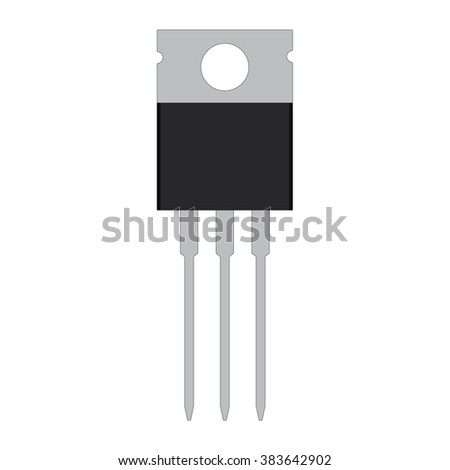 flat icon, transistor for circuits board on isolated background