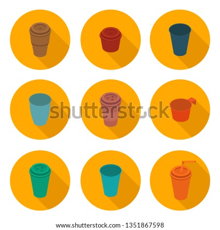 flat icons set isometric color plastic Cup  #1351867598