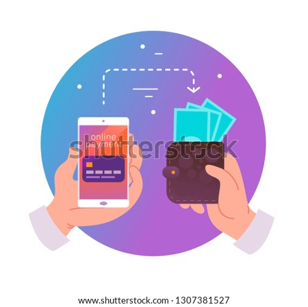 Flat illustration for online payments and transaction with human hand holding smartphone with credit card on its screen and wallet with cash. Perfect for mobile app banner, landing page design.