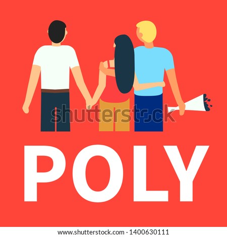 Flat illustration of partners polyamorous love. Open romantic and sexual relationships. Relationship loving people. Polyamory Colorful background. Live coral, trend color