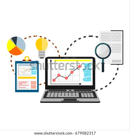 Flat illustration of web analytics information and development website statistic - illustration