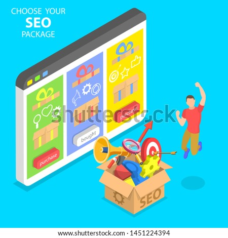 Flat isometric concept of SEO package choosing, search engine ranking, website optimization marketing.
