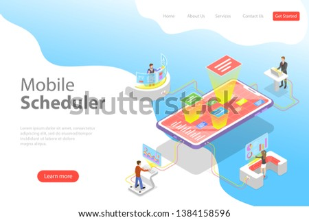 Flat isometric landing page template of mobile scheduler, business planning, schedule, meeting appointment, agenda