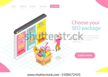 Flat isometric landing page template of SEO package choosing, search engine ranking, website optimization marketing.