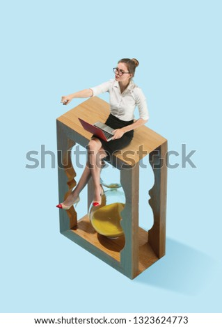 Flat isometric view of businesswoman are afraid of the symbol deadline. Conceptual collage. Business processes, workplace concepts. Human emotions concept. Miniature people. #1323624773