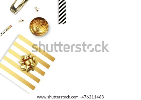 Flat lay. Background mockup, office items on the table. Up viev. Gold srtipe pattern. Modern, feminine scene.