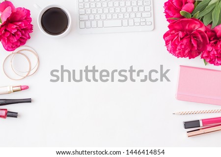 Flat lay blogger or freelancer workspace with a notebook, keyboard, red peonies on a white background #1446414854
