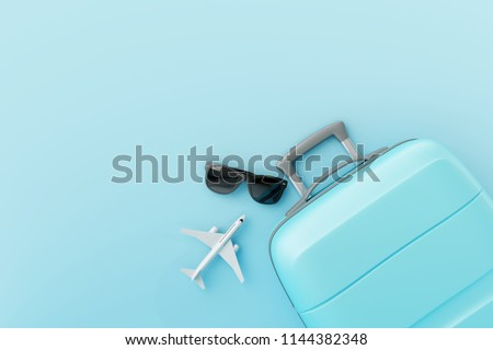 Flat lay blue suitcase with sunglasses and plane on pastel blue background.travel concept. 3d rendering