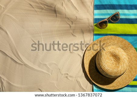 Flat lay composition with beach objects and space for text on sand #1367837072