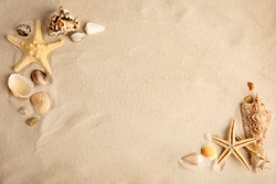 Flat lay composition with beautiful starfishes and sea shells on sand, space for text