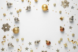 Flat lay composition with Christmas decorations on white background, space for text