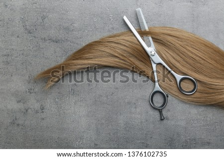 Flat lay composition with light brown hair and thinning scissors on grey background. Hairdresser service