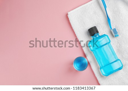 Flat lay composition with oral care products and space for text on color background. Teeth hygiene