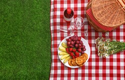 Flat lay composition with picnic basket and products on checkered blanket outdoor, space for text