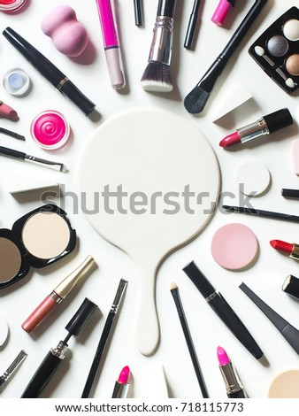 Flat lay conceptual beauty product cosmetic still life text space image. White background.