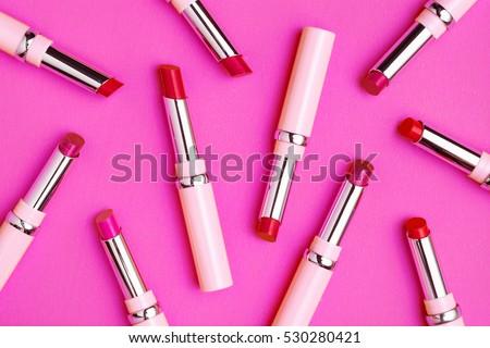 Flat lay fashion with lipsticks, Essential beauty item