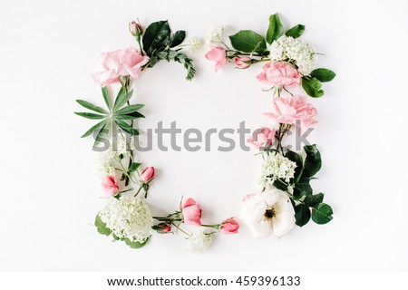 flat lay frame with pink and white roses, branches, leaves and petals isolated on white background. top view #459396133