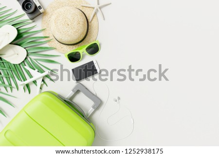 Flat lay Green suitcase with traveler accessories on white background. travel concept. 3d rendering