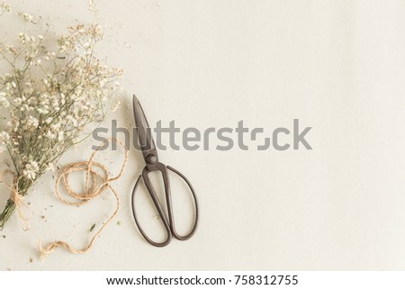 Shutterstock flat lay image with old scissors on paper background