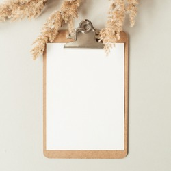 Flat lay minimalist home office desk with blank sheet clipboard with copy space for text, reeds branch, casket on neutral background. Top view work, business, education template.