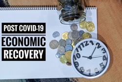 Flat lay of an image with 'POST COVID-19 ECONOMIC RECOVERY