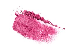 Flat lay of brush stroke. Broken shiny magenta eyeshadow as sample of cosmetic product isolated on white background