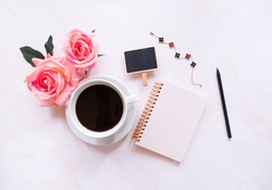 Flat lay of Office table desk, Women's fashion and minimal style on white background with blank space for text.