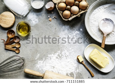 Flat lay of preparation pastry homemade recipe for bake