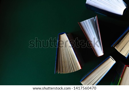 Flat lay of the opened books on the background of khaki.