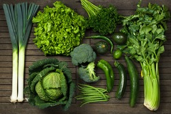 flat lay of vegetables green