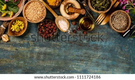 Flat lay of wild healing herbs